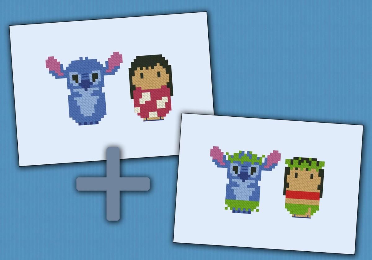 Lilo Amp Stitch Digital Cross Stitch Pattern