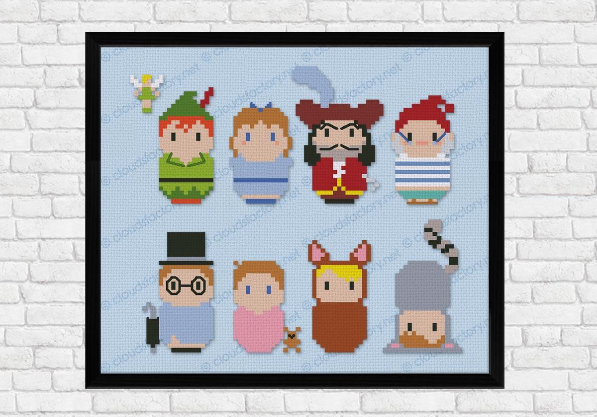 Peter Pan Cartoons Mini People Cross Stitch Patterns