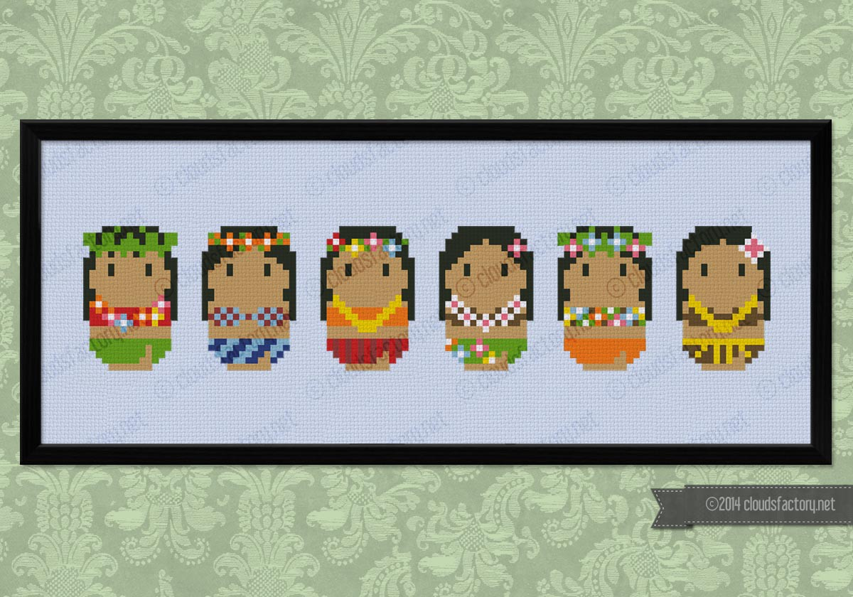 Cute Little Hula Dancers Digital Cross Stitch Pattern