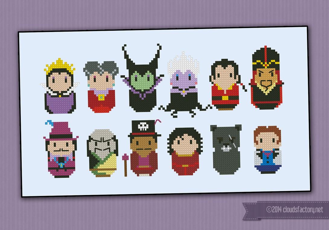 Disney Princess Villains Digital Cross Stitch Pattern