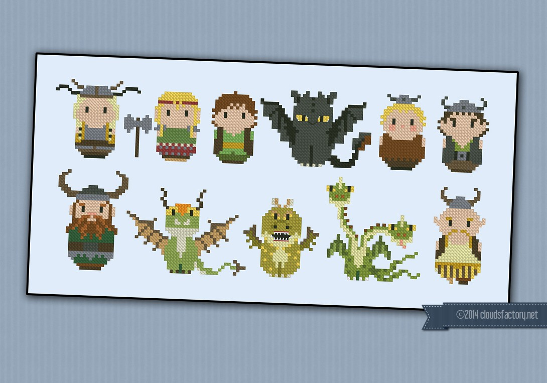 How To Train Your Dragon Digital Cross Stitch Pattern