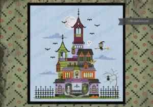 haunted house halloween cross stitch