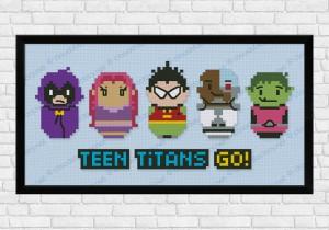 Teen titans cross stitch pattern