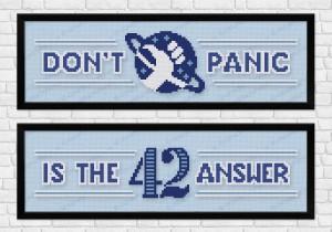 Hitchhiker's Guide towel cross stitch pattern