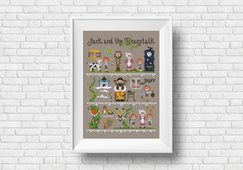 Jack and the beanstalk cross stitch pattern
