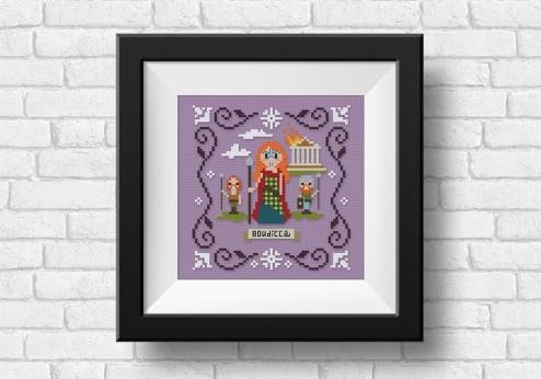 Boudicca cross stitch on purple