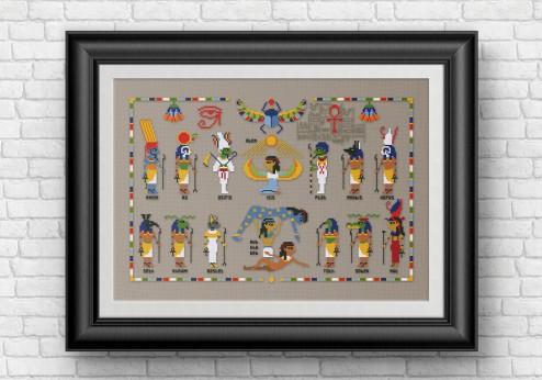 Egyptian gods and goddesses cross stitch pattern