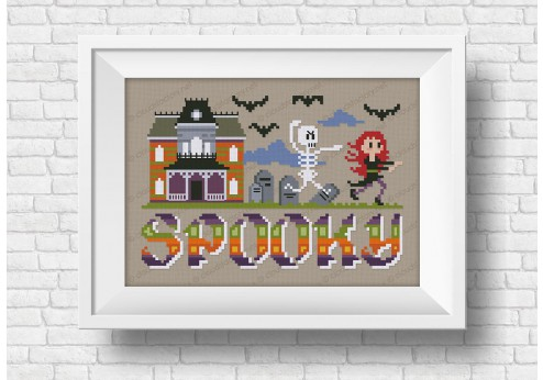 spooky halloween cross stitch pattern