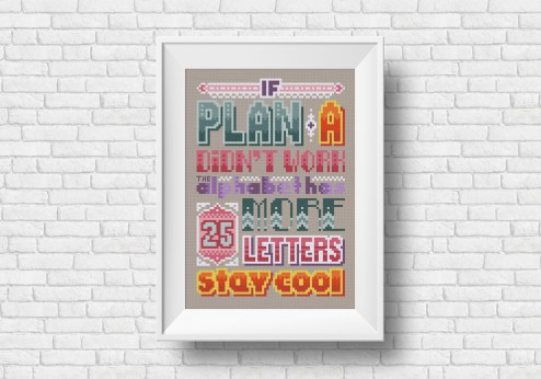 If plan A cross stitch quote by cloudsfactory