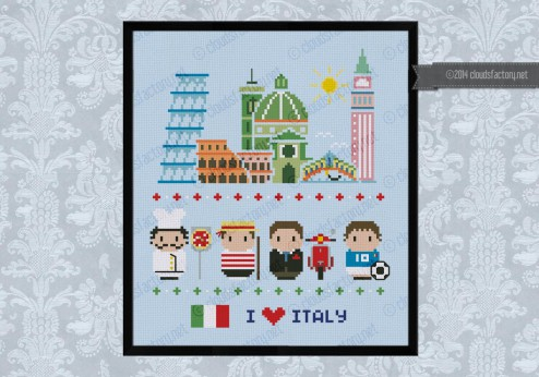 Italy icons (big version) - Mini people around the world