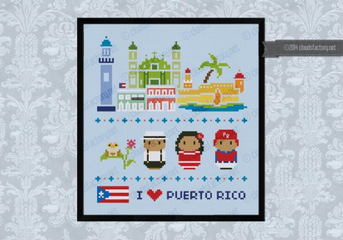 Puerto Rico icons (big version) - Mini people around the world