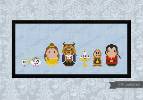 Beauty and the Beast cross stitch pattern