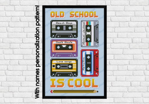 Old school cassettes cross stitch pattern