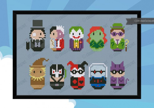 Batman Enemies cross stitch