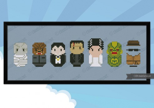 Classic horror movie monsters cross stitch pattern