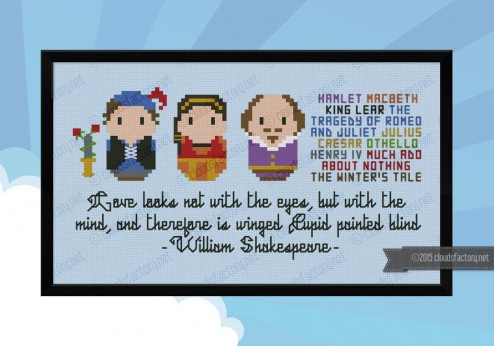 William Shakespeare cross stitch pattern