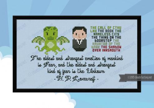 Lovecraft cthulhu cross stitch pattern