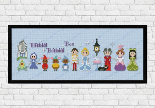 Cinderella on light blue fabric - Epic Storybook Princesses