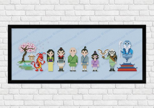 Mulan on light blue fabric - Epic Storybook Princesses