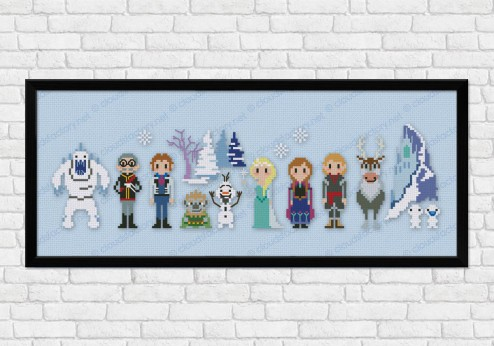 Frozen on light blue fabric - Epic Storybook Princesses
