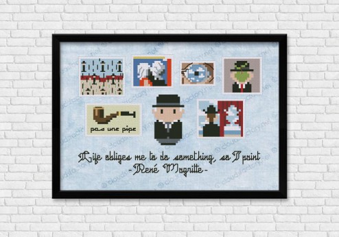Rene Magritte cross stitch pattern