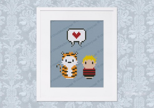 Calvin and Hobbes cross stitch pattern