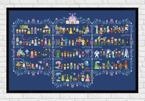 Full Pattern in Columns on dark blue fabric - Epic Storybook Princesses