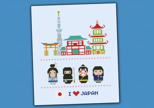 Japan icons (big version) - Mini people around the world