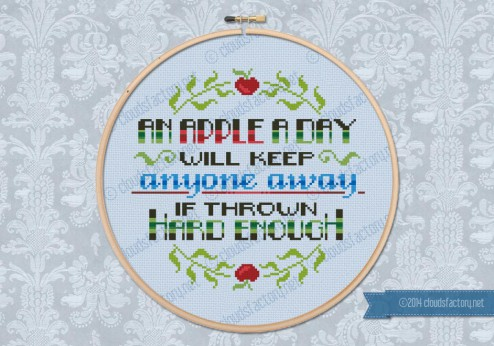 An apple a day cross stitch quote