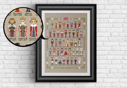 Kings and queens of the uk cross stitch