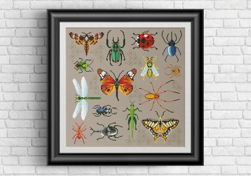 Bugs pillow cross stitch pattern