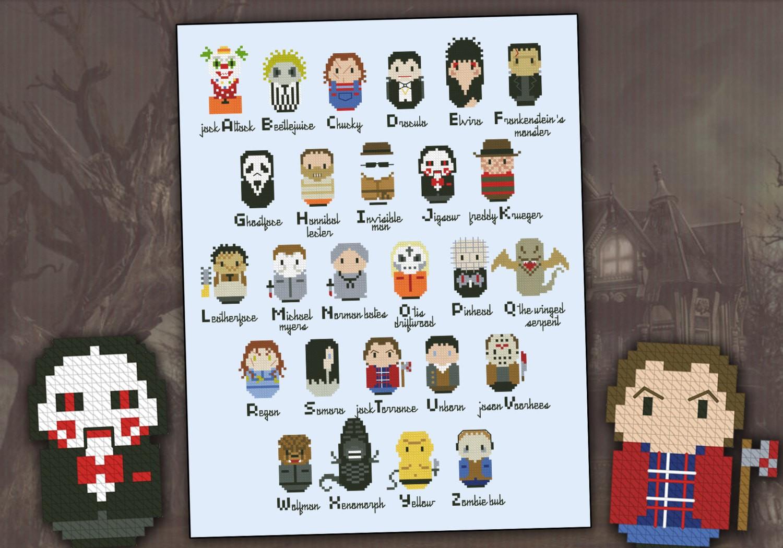 Horror Movies Alphabet Sampler Digital Cross Stitch Pattern