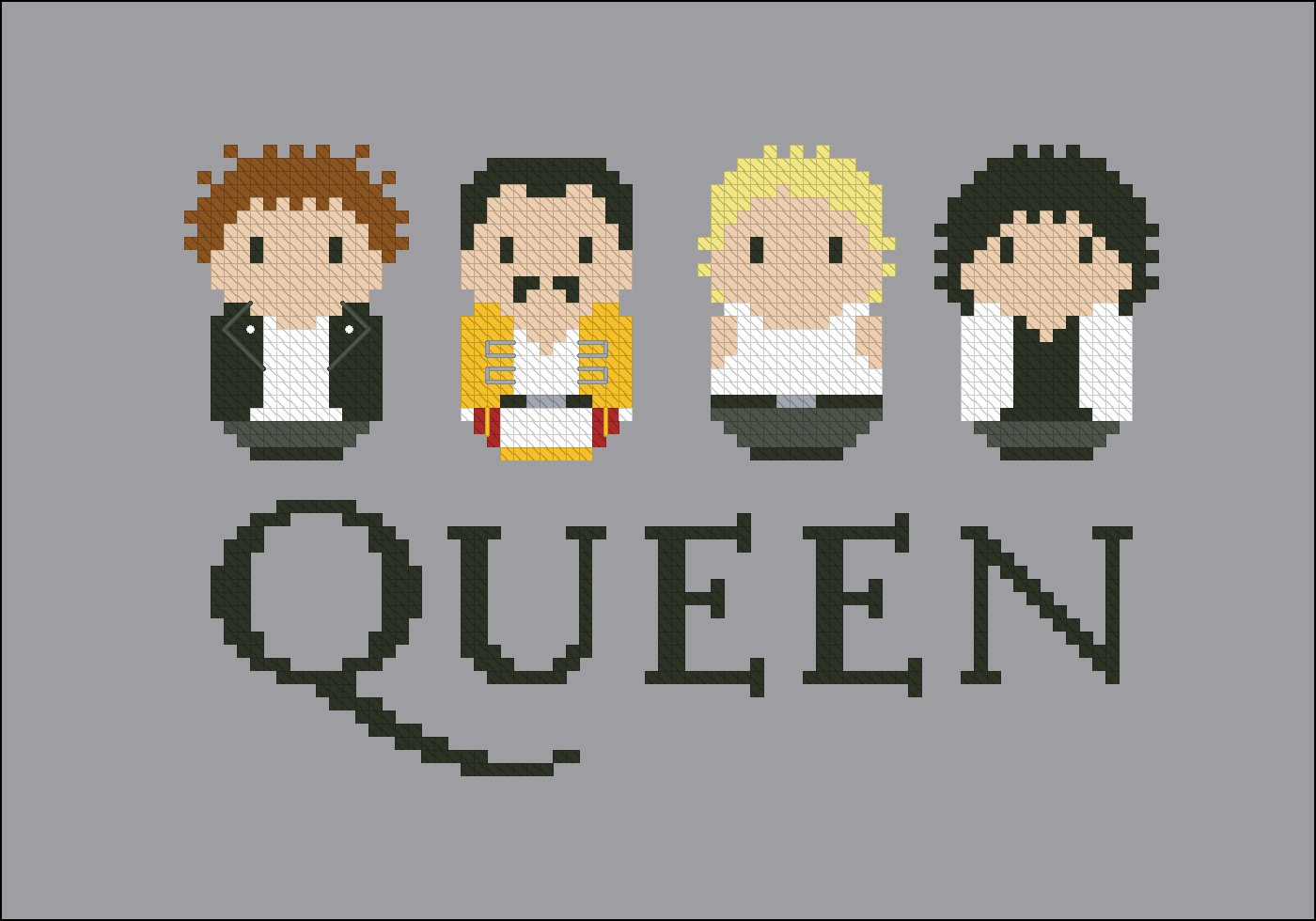 Queen rock band - Digital Cross Stitch Pattern