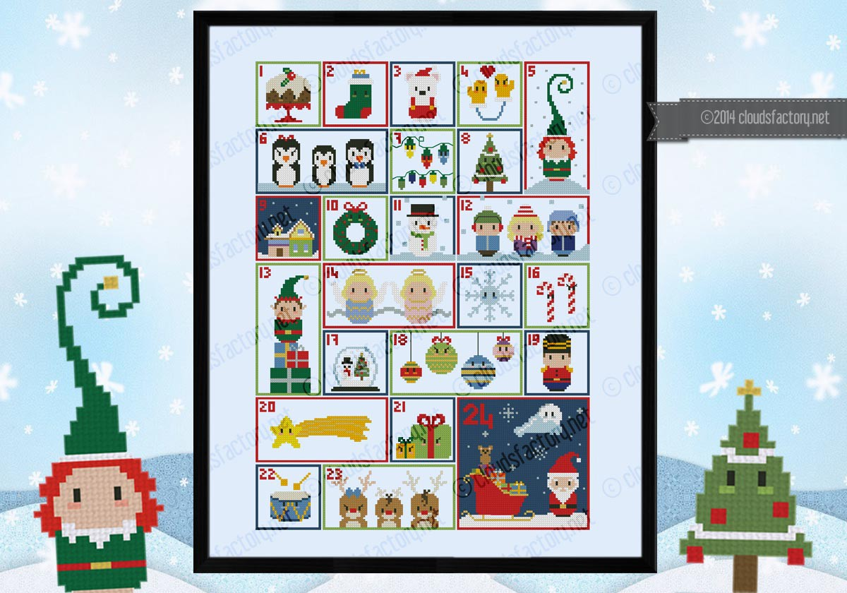 christmas advent calendar sampler digital cross stitch. Black Bedroom Furniture Sets. Home Design Ideas