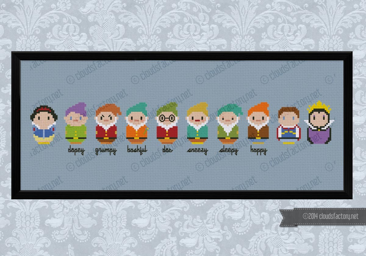 Cross Stitch pattern Disney seven dwarfs