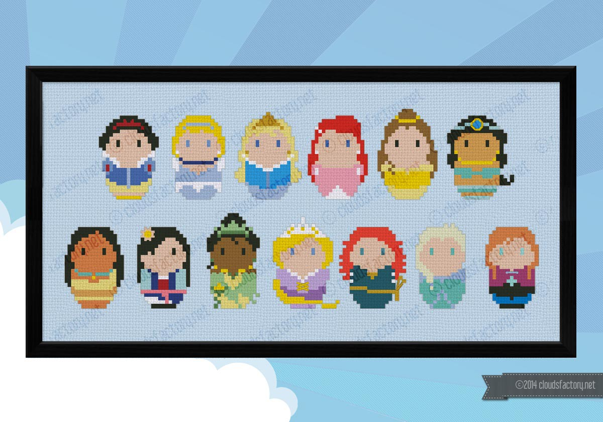 Storybook Princesses Digital Cross Stitch Pattern