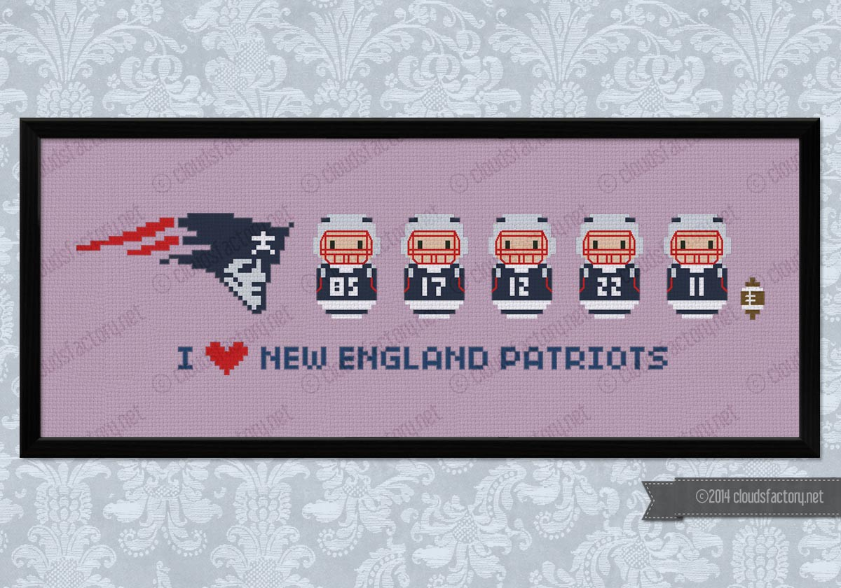 Free US Shipping New England Patriots Logo Counted Cross Stitch Pattern