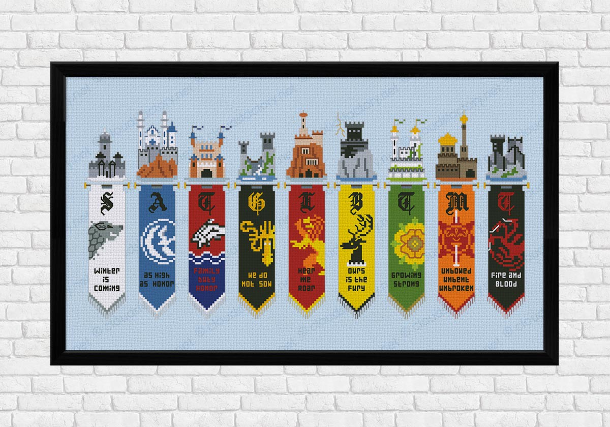 game of thrones houses banners digital cross stitch pattern. Black Bedroom Furniture Sets. Home Design Ideas