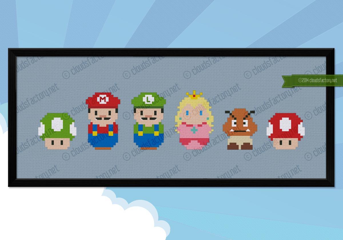 Super Mario Videogames Mini People Cross Stitch