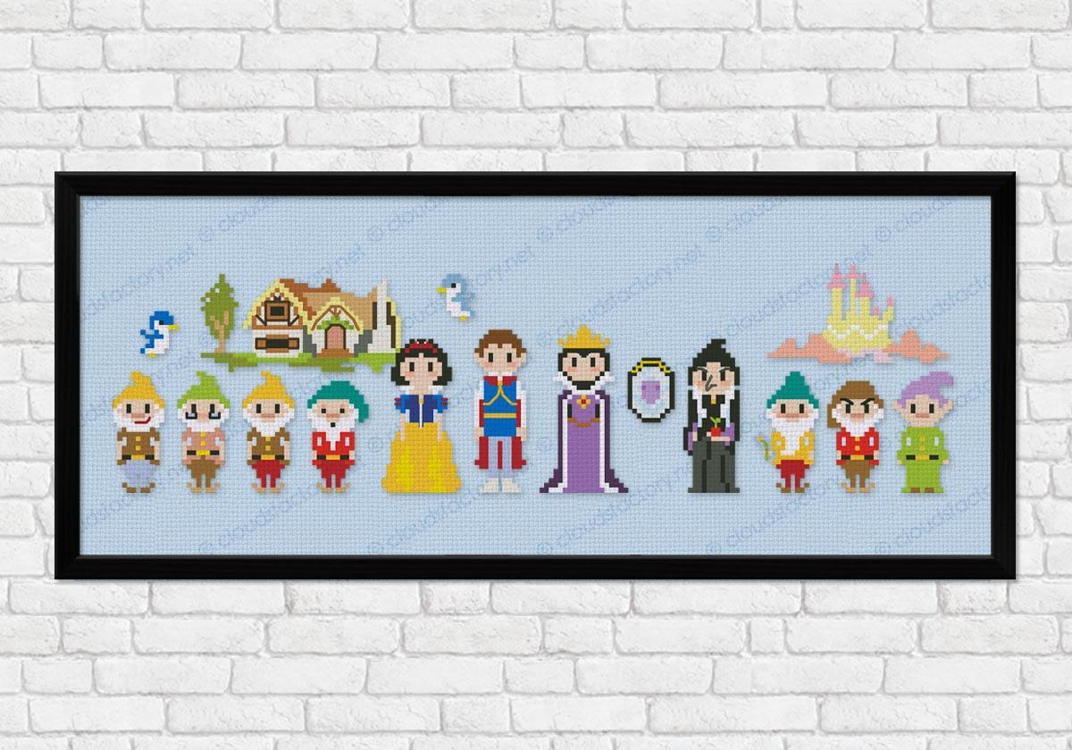 Disney/'s/_Snow White /& Seven Dwarfs.Blue/_Cross Stich Pattern