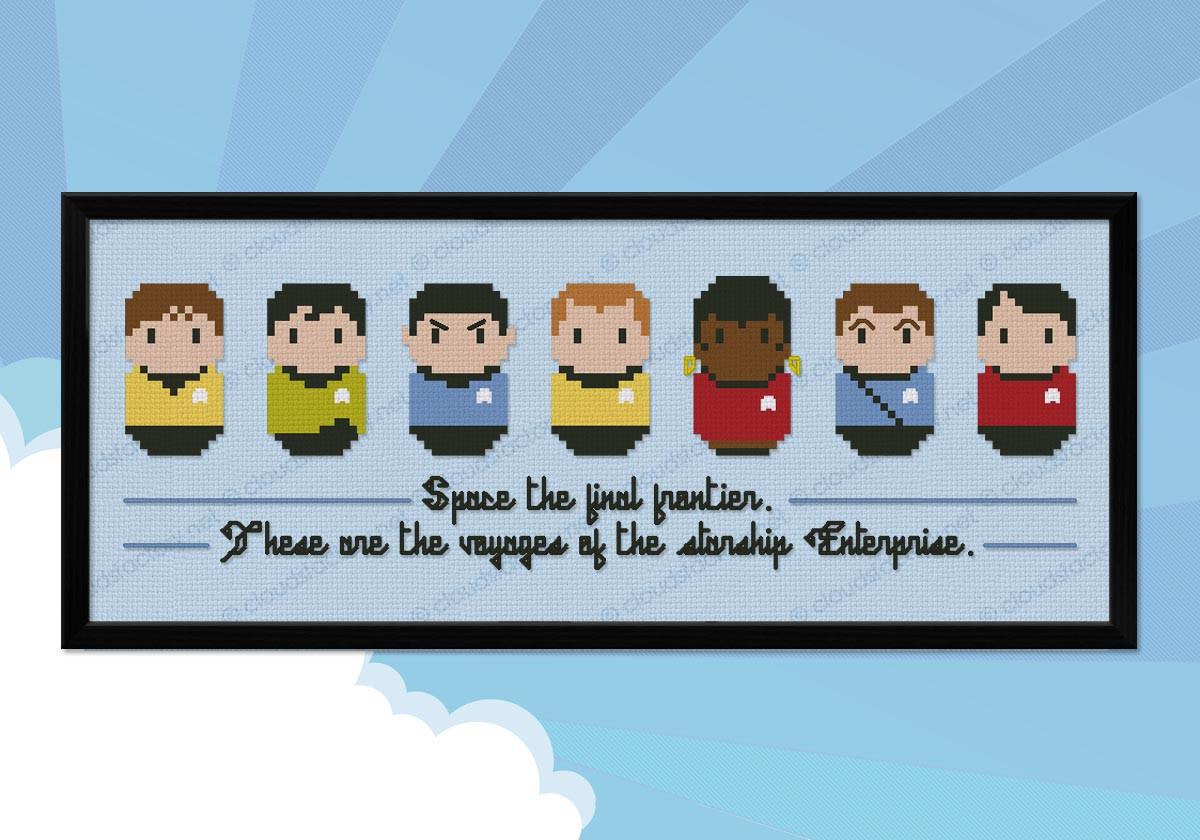 USS Enterprise Star Trek Cross stitch chart Spock pattern Kirk Star Ship