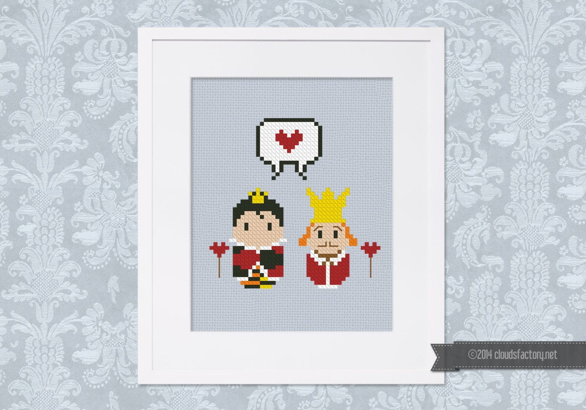 Alice in Wonderland - Queen and King of Hearts - Mini People in Love -  Digital Cross Stitch Pattern