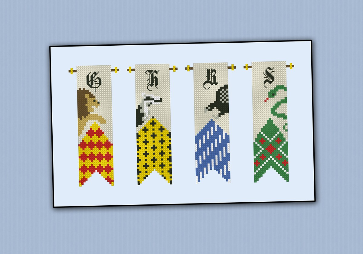 Home Design Ds Game Harry Potter Houses Banners Digital Cross Stitch Pattern