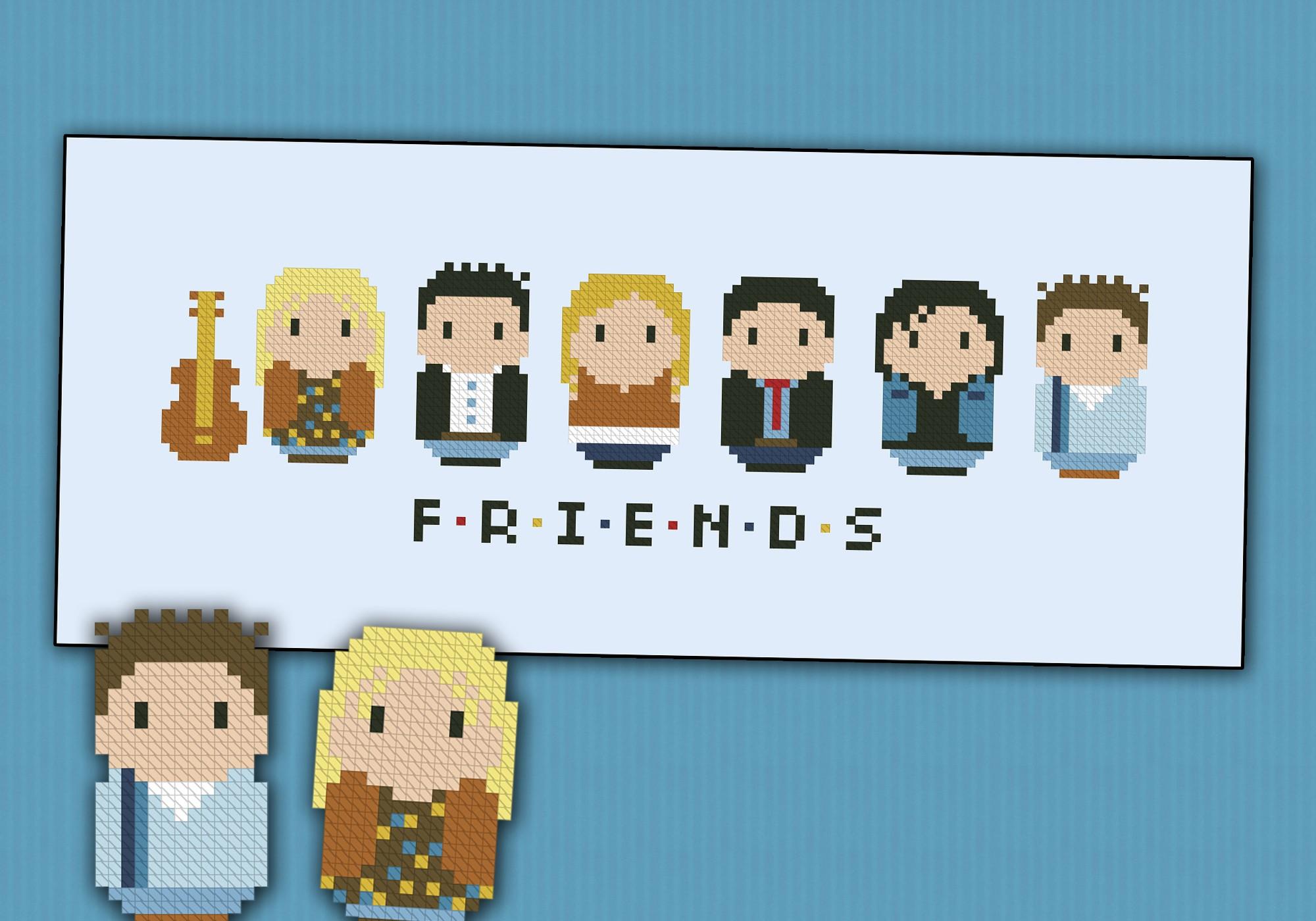 Friends Tv Series Mini People Cross Stitch Patterns