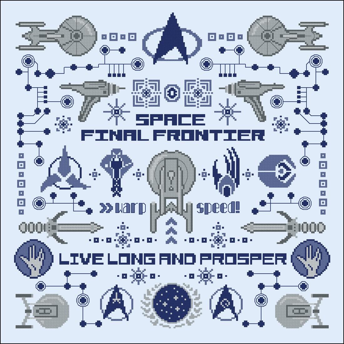 Star Trek pillow sampler - Digital Cross Stitch Pattern