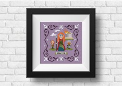 Boudicca cross stitch on purple