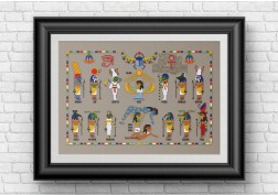 Egyptian gods and goddesses cross stitch pattern