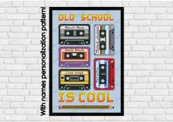 Old school cassettes cross stitch pattern
