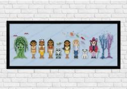 Pocahontas on light blue fabric - Epic Storybook Princesses