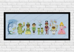 Princess and the frog on light blue fabric - Epic Storybook Princesses